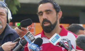 Adam Goodes talks to the press