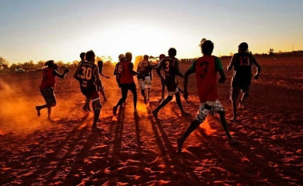 Punmu sports carnival, Punmu, Western Desert - Kiwirrkurra Lions play the Warralong Bombers. Picture - Lee Griffith / The West Australian 23 June 2010