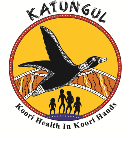 Katungul logo black duck flying in front of boomerang shape with orange & yellow Aboriginal dot art, silhouette of man, woman & two chilren, text 'Koori Health In Koori Hands', at bottom of the circle with the duck & 'Katungul' at the top of the circle