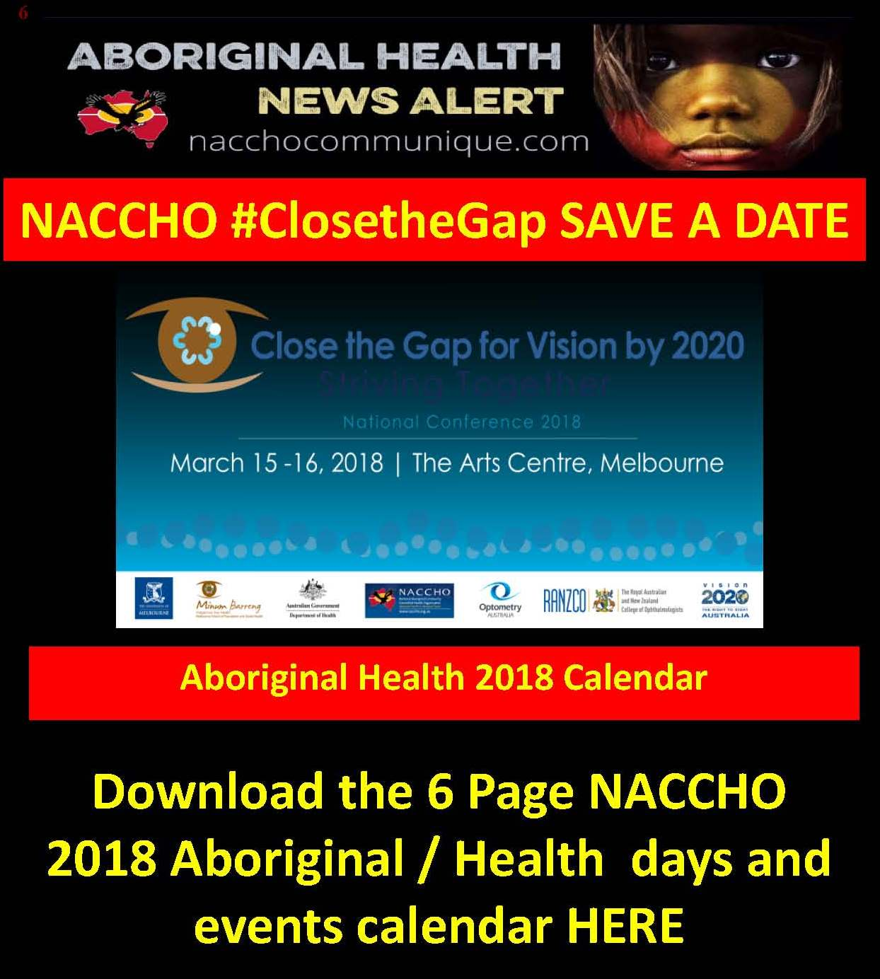782397c438e NACCHO Aboriginal Health 2018  Saveadate Calendar Download   Features this  week  ClosetheGap for  Vision  Vision2020Aus Indigenous Health and  Alcohol  ...