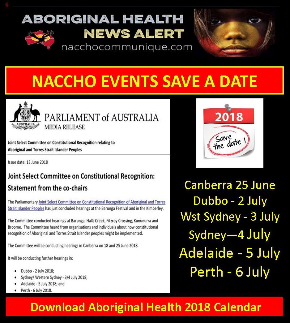naccho aboriginal health saveadate events and conferences senatordodson constitutional recognition hearings act nsw sa wa plus naccho launches its