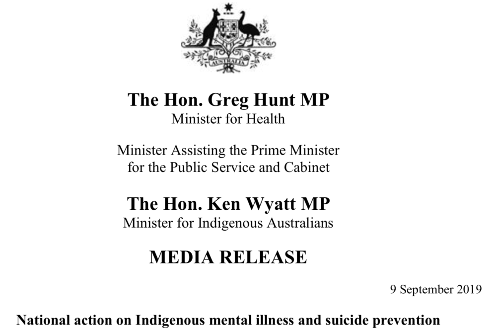NACCHO Aboriginal #Mentalhealth and #SuicidePrevention #WSPD2019 News :The @NACCHOChair and other Indigenous leaders welcomes the Government's commitment and national actions towards reducing suicide rates and improving #mentalhealth outcomes for Aboriginal and Torres Strait Islander peoples @cbpatsisp @blackdoginst