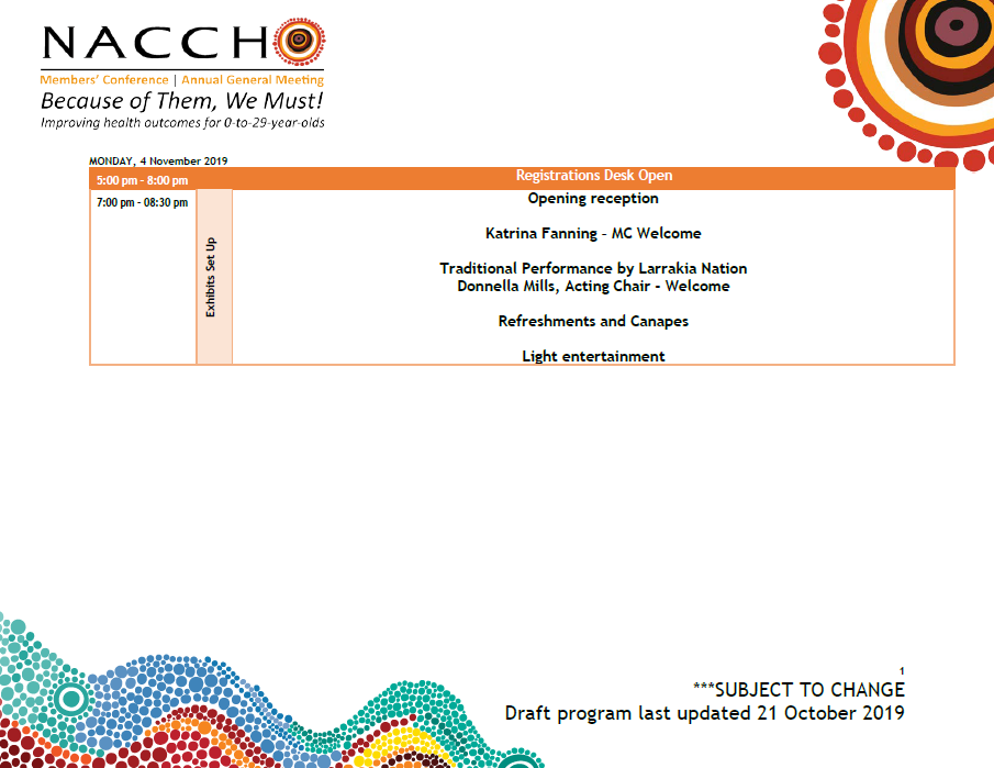 NACCHO Aboriginal Health Conferences and Events #Saveadate : This week REGISTRATIONS Close 25 October for both #NACCHOAgm19 #NACCHOYouth19 Darwin November 4 to 7 Plus #ClosingTheGap #HaveYourSayCTG Survey Closing 8 November