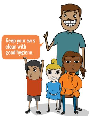 Cartoon characters, a man and three children with 'Keep your ear clean with good hygiene' speech bubble.