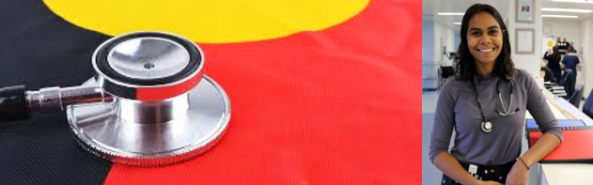 Two images: Aboriginal flag with stethoscope & Dr Vinka Barunga