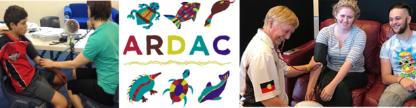 ARDAC Logo, fish, turtle, dolphin, echidna & a photo of a school child having blood pressure taken & photo of a young adult having blood pressure taken