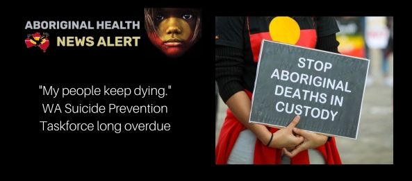 "Feature image tile ""My people keep dying"" & woman in Aboriginal flag shirt holding Stop Aboriginal Deaths in Custody sign"