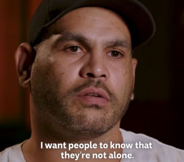 Greg Inglis' face & text 'I want people to know that they're not alone'