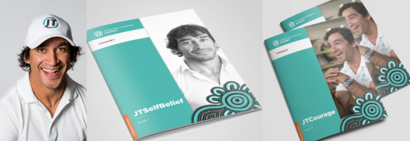 Photo of Johnathan Thurston & JTConnect resource materials.