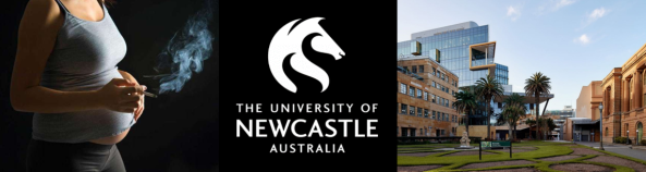 Photo Pregnant Aboriginal Woman smoking, University of Newcastle Logo & University of Newcastle exterior