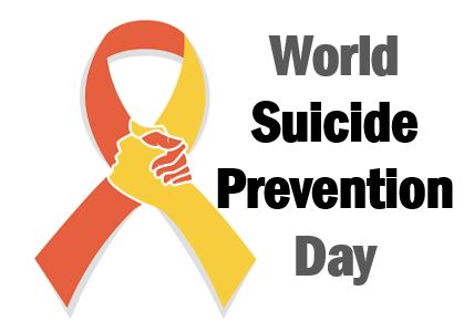 World Suicide Prevention Day & orange & yellow ribbon cross over point hands