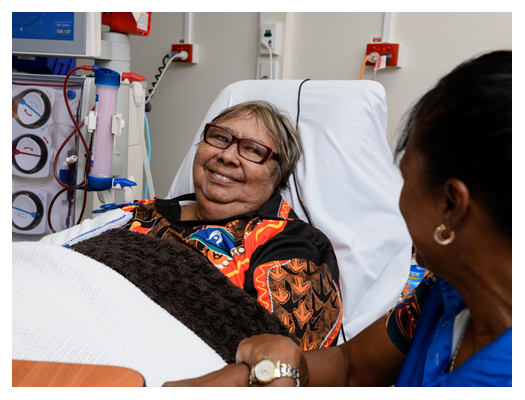 Aboriginal lady on dialysis and Aboriginal nurse