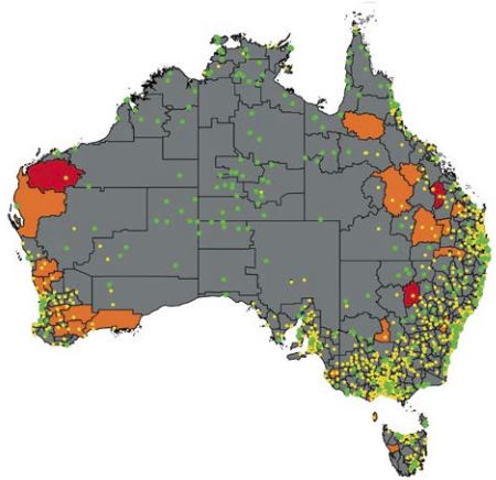 AIHW Aboriginal access to health services map of Australia