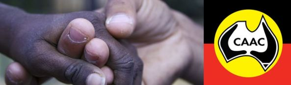 close up image of two Aboriginal hands holding & CAAC logo