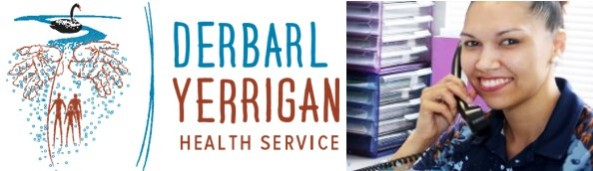 Derbarl Yerrigan Health Service logo & photo of employee at office desk answering the phone