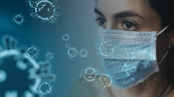 health worker in mask, covid cell image superimposed