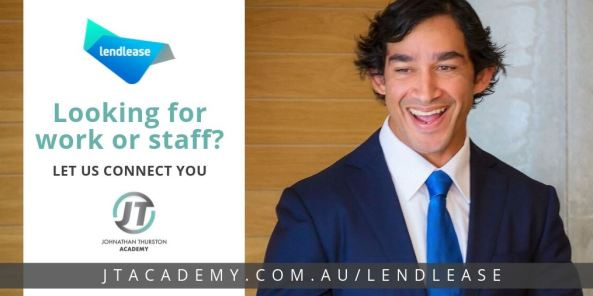 Jonathan Thurston in suit smiling, Job Board advertisement