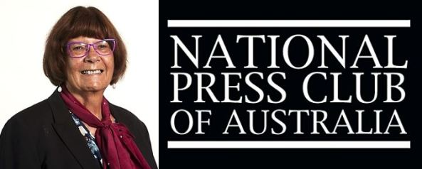 portrait image of Pat Turner AM & National Press Club logo