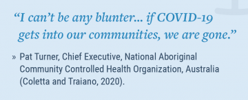 text quote from Pat Turner 'I can't be any blunter...if COVID-19 gets into our communities, we are gone