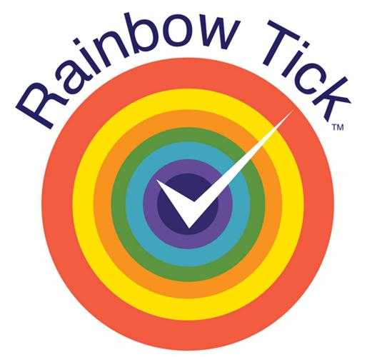 Official Rainbow Tick Program logo concentric circles of colours, dark orange, yellow, light orange, green, blue, purple navy overwritten with a white tick