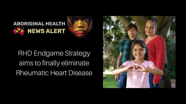 RHD Endstrategy feature tile & small Aboriginal girl making heart shape with her hands, Aboriginal woman and teenage Aboriginal boy standing behind girl, all in front of a large tree