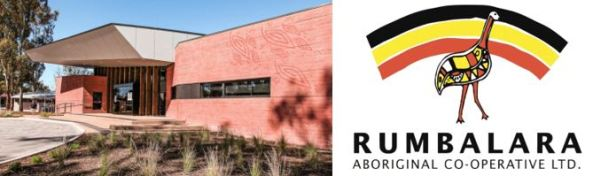 external view of Rumbalara logo emu against a clinic & Rumbalara logo - emu against curve of black, yellow & red curves