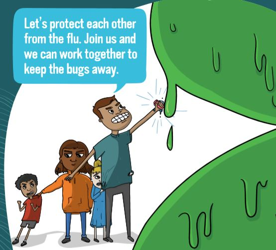 cartoon of Aboriginal man with family standing behind him punching giant green flu virus