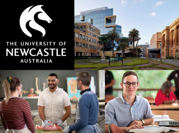 Uni Newcastle logo, campus photo, two Aboriginal medical students