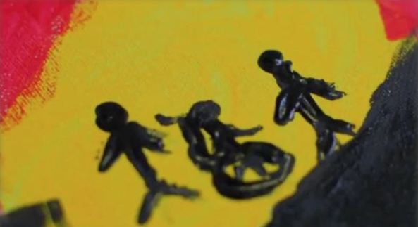 painting re yellow black two stick figures & one stick figure in a wheelchair