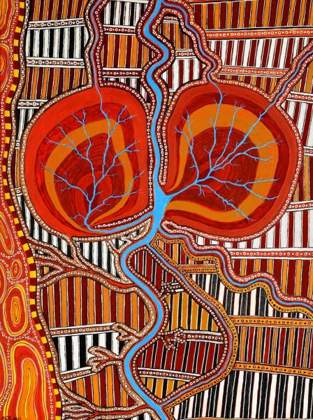Aboriginal painting of kidneys by Norm Stewart Yorta Yorta of kidneys