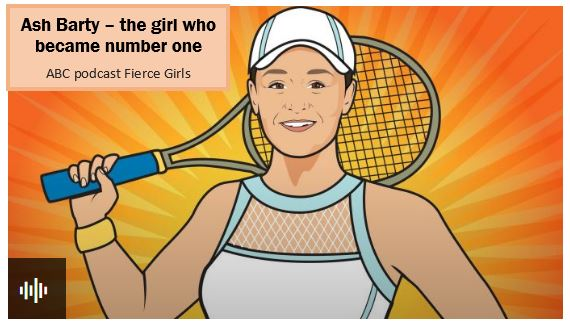 snapshot of cartoon drawing of Ash Barty from ABC Fierce Girls podcast webpage