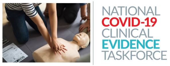 CPR training hands on dummy & National COVID-19 Clinical Evidence Taskforce logo