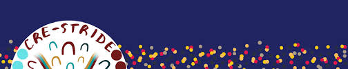 CRE-STRIDE banner - words CRE-STRICE in semi-circle, Aboriginal meeting symbols and yellow red grey dots in background against purple banner