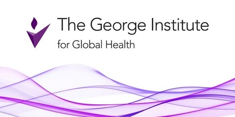 The George Institute for Global Health banner, words and purple tick with dot in shape of flame
