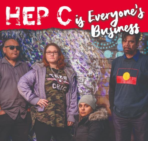 4 Aboriginal people against graffitied wall with words HEP C is Everyone's Business