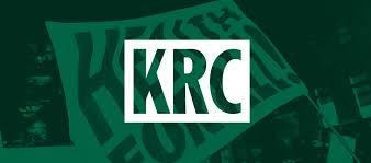 Kirkton Road Centre logo, white letters KRC against green background