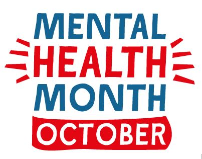 words Mental Health Month October in blue and red lettering logo