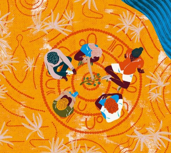 painting by Camilla Perkins for Mosaic of 5 Aboriginal people yarning in a circle