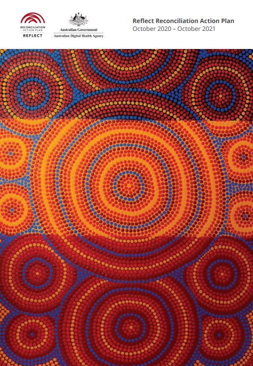 cover of ADHA RAP 2020–21 report - Aboriginal dot painting circules orange blue dark red