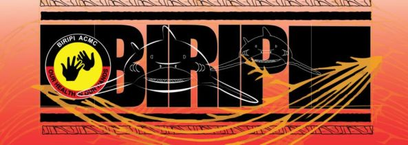 Biripi ACMC banner, whie line drawing of two sharks against Biripi ACMC logo and bold black letters BIRIPI orange and yellow colours