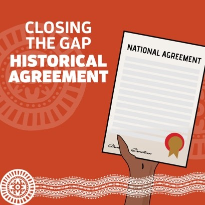 CTG Historial Agreement COP tile - cartoon Aboriginal hand holding paper with title National Agreement