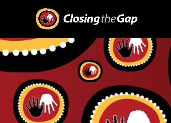 Closing the Gap banner Aboriginal art black and white hands thumbs interlocked