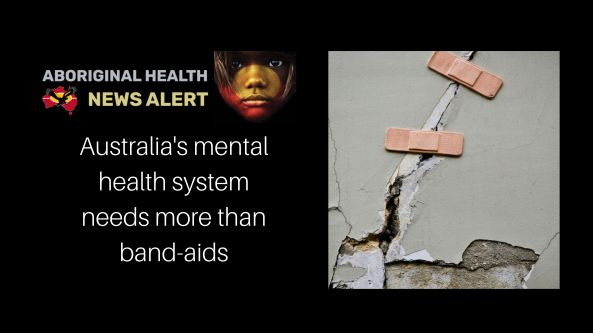 feature tile text Australia's mental health system needs more than band-aids, band-aids over a wall crack