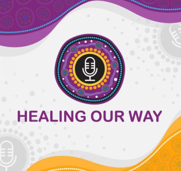 Healing Our Way podcast promotional tile, microphone surrounded by Aboriginal dot painting circles