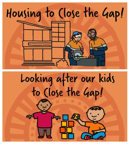 tiles: Housing to Close the Gap! and Looking after our kids to Close the Gap with cartoon characters of two carpenters and two children with building blocks