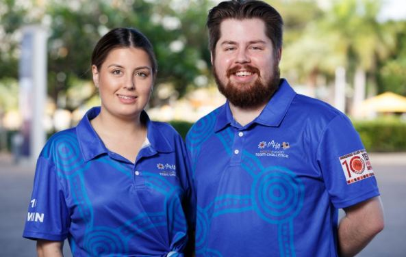 portrait photo of Aboriginal intern pharmacist Lillian Emery and Aboriginal pharmacist student Louis Emery