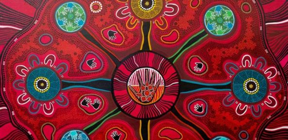 Aboriginal painting Gathay nyilrun - Lets walk together, Artist Krystall Hurst of Gillawarra Arts