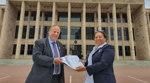 Bunbury MLA Don Punch with SWAMS CEO Lesley Nelson with the petition for WA State Parliament
