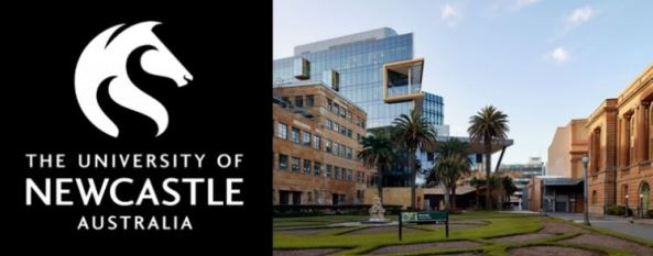 University of Newcastle logo white on black vector of horse head and external image of the uni