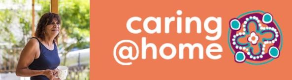 Aboriginal woman holding a cuppa and caring at home logo